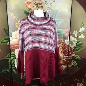 NEW Style & Co Cowl Neck Plus Size Striped Sweater